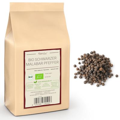 Schwarzer Malabarpfeffer in bester Bio-Qualität ohne Zusätze