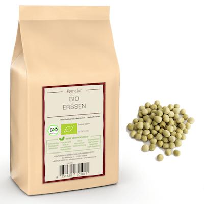 Getrocknete Bio Erbsen, grüne Erbsen ohne Zusätze