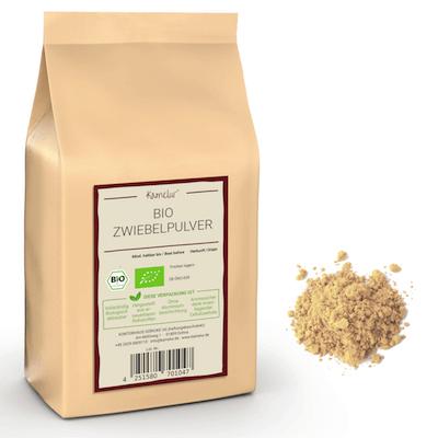 Bio Zwiebelpulver von Kamelur, aus schonend getrockneten Bio Zwiebeln
