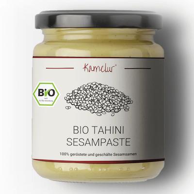 Bio Tahini Sesampaste, geröstete & geschälte Sesamsamen