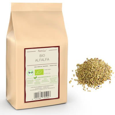 Bio Alfalfa Luzerne Samen ohne Zusätze, Keimsaat