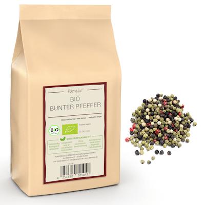 Bio Bunter Pfeffer: rote, schwarze, grüne und weiße Pfefferkörner